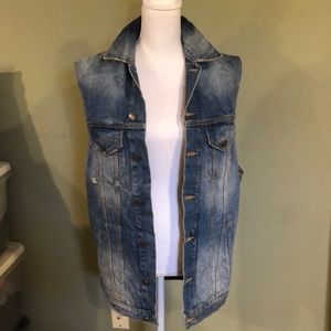 Oversized denim vest